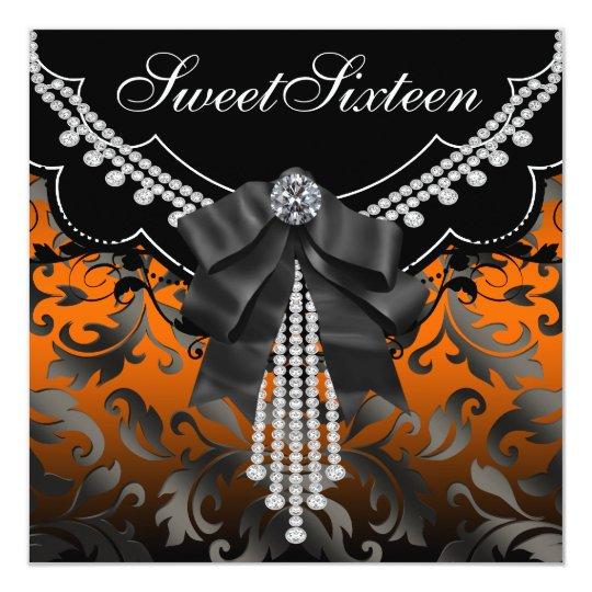 Black Orange Damask Sweet Sixteen Party Invitation