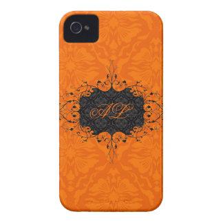 Black & Orange Elegant Vintage Floral Damask iPhone 4 Covers