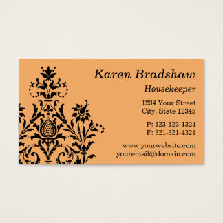 Black & Orange Floral Damask Business Card