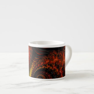 Black,orange Fractal Art Espresso mug