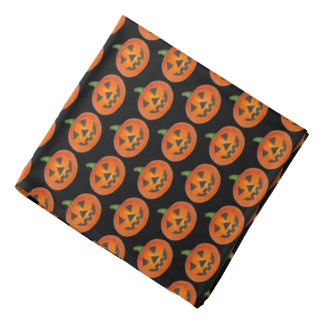 Black Orange Halloween Jack o' Lantern Pumpkin Bandana