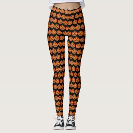 Black Orange Halloween Jack o Lantern Pumpkin Leggings