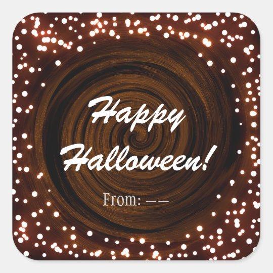 Black & Orange Halloween Lights Party Favour Square Sticker