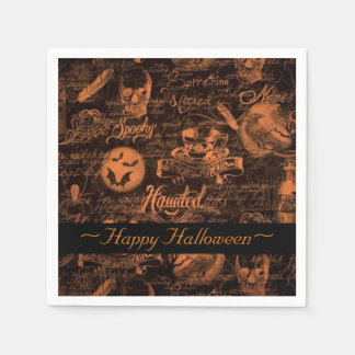 Black & Orange Haunted Halloween Napkins Disposable Napkin