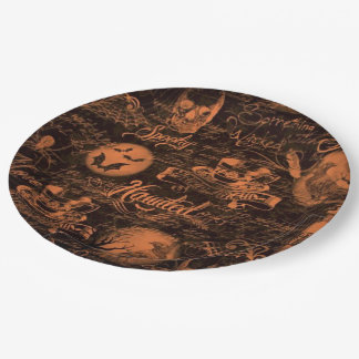 Black & Orange Haunted Halloween Paper Plates