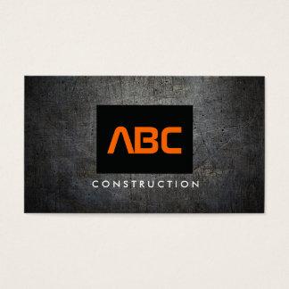 Black/Orange Monogram Grunge Metal Construction II Business Card