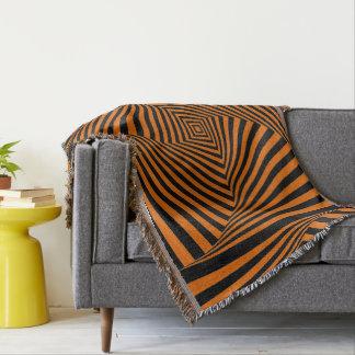 Black & Orange Optical Illusion. Throw Blanket