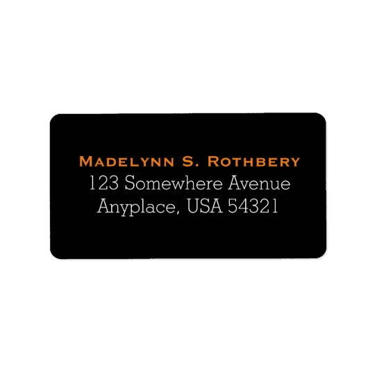 Black Orange Simple Plain Address Labels