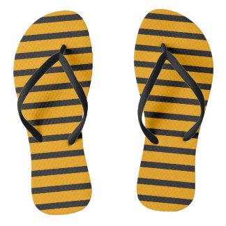 Black Orange Stripes Cool Trendy Minimal Stylish Flip Flops