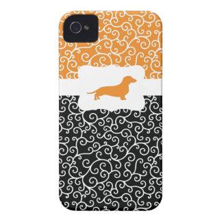 Black&Orange Swirls w/Dachshund iPhone 4 Case