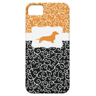 Black&Orange Swirls w/Dachshund iPhone 5 Case