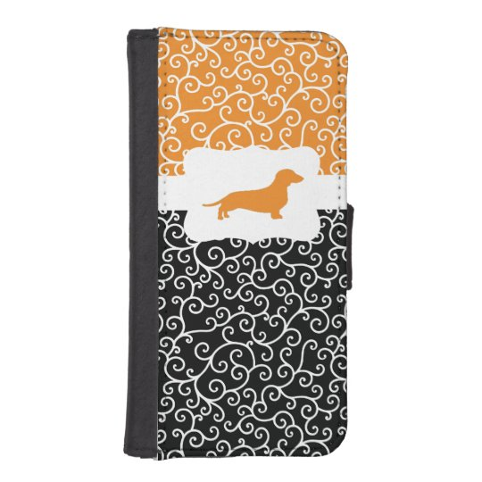 Black & Orange Swirls w/Dachshund iPhone SE/5/5s Wallet