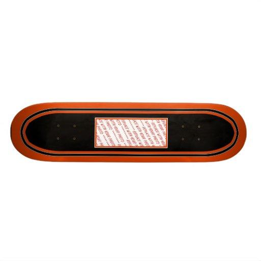 Black & Orange Trimmed Photo Template Skate Deck