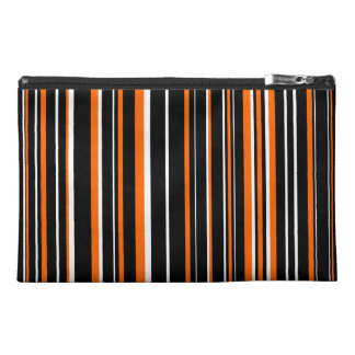 Black, Orange, White Barcode Stripe Travel Accessories Bag