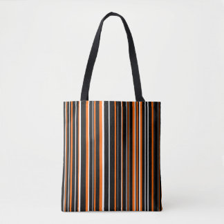 Black, Orange, White Barcode Stripe Tote Bag