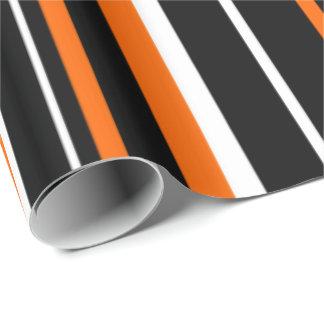 Black, Orange, White Barcode Stripe Wrapping Paper