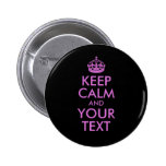 Black Orchid Keep Calm and Your Text 6 Cm Round Badge