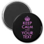 Black Orchid Keep Calm and Your Text 6 Cm Round Magnet