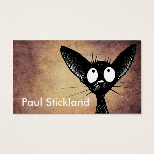 Black Oriental Cat Art Business Card