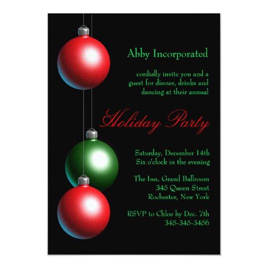 Black Ornament Holiday Invitation (corp)