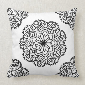 Black Ornate Mandala On White Background Cushion
