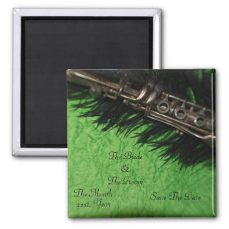 Black Ostrich Feather and Clarinet  Wedding Square Magnet