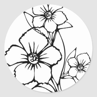 Black outline of three flower classic round sticker