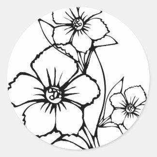 Black outline of three flower round sticker
