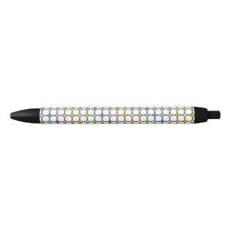 Black Outlined Pastel Rainbow 4 Point Stars Black Ink Pen