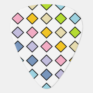 Black Outlined Pastel Rainbow Diamonds Plectrum