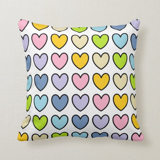Black Outlined Pastel Rainbow Hearts Cushion