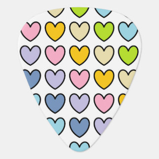 Black Outlined Pastel Rainbow Hearts Guitar Pick