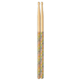 Black Outlined Pastel Rainbow Hexagons Drumsticks