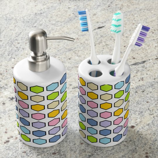 Black Outlined Pastel Rainbow Hexagons Soap Dispenser And