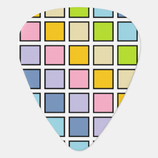 Black Outlined Pastel Rainbow Squares Plectrum
