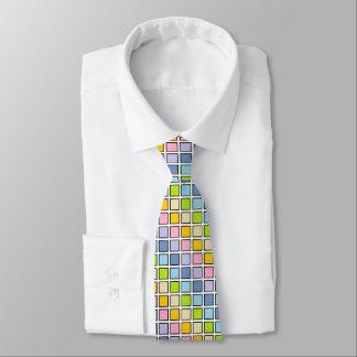Black Outlined Pastel Rainbow Squares Tie
