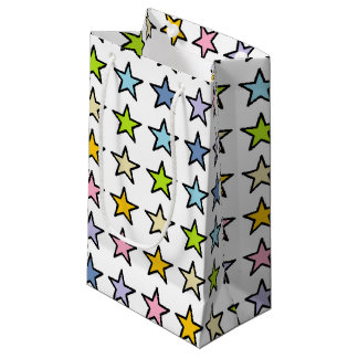 Black Outlined Pastel Rainbow Stars Small Gift Bag