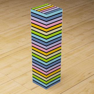 Black Outlined Pastel Rainbow Stripes Wine Box