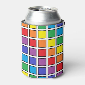 Black Outlined Rainbow Squares Can Cooler