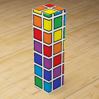 Black Outlined Rainbow Squares Wine Box