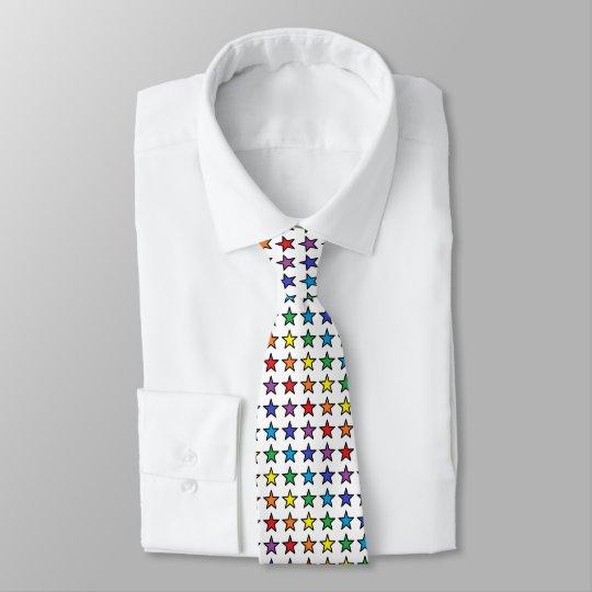 Black Outlined Rainbow Stars Tie