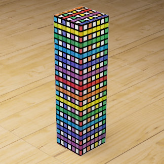 Black Outlined Rainbow Weave Wine Box