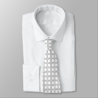 Black Outlined Squares Tie