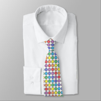 Black Outlined Static Rainbow Polka Dots Tie