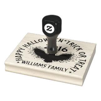 Black Owl & Custom Text Happy Halloween Rubber Stamp