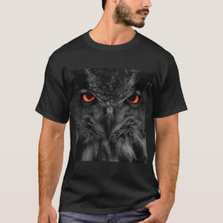 Black owl face with red eyes on men's dark tshirt
