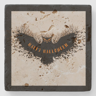 Black Owl Halloween Illustration Stone Coaster
