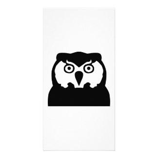 Black Owl head Customized Photo Card