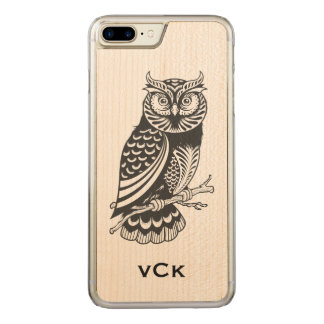 Black Owl Line Drawing Carved iPhone 8 Plus/7 Plus Case