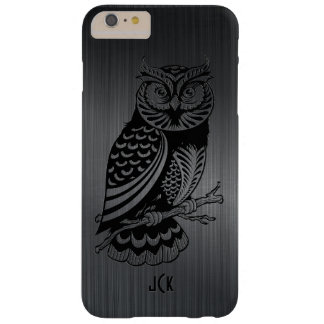 Black Owl Over Metallic Brushed Aluminum-Monogram Barely There iPhone 6 Plus Case